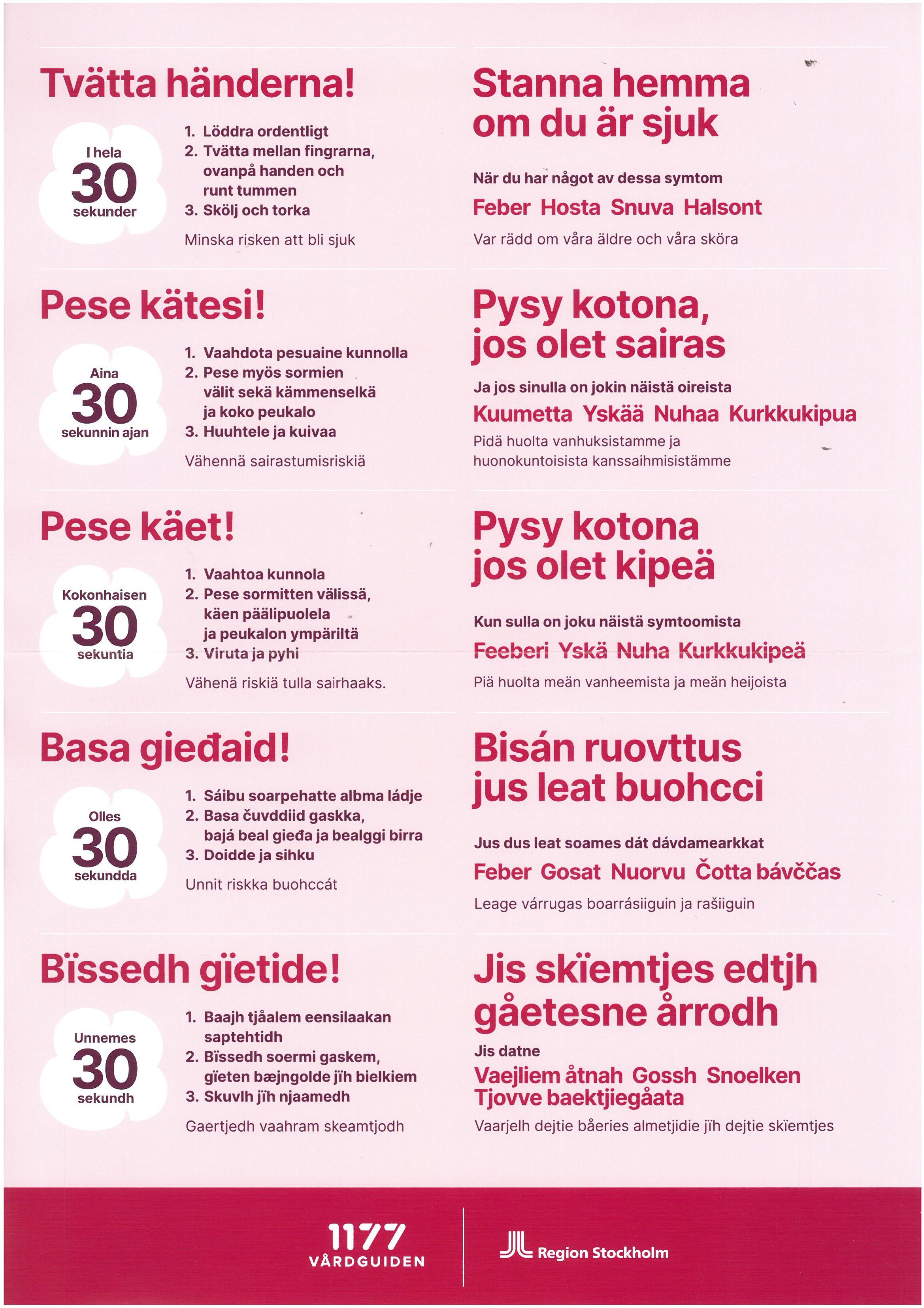 Coronarekommendation Olika Språk Sida 3