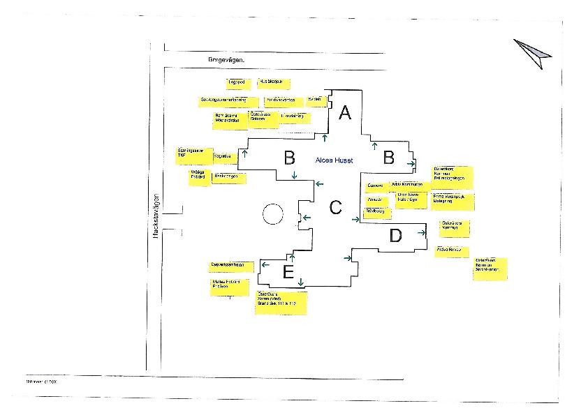 Utrymningsplan Alceahuset